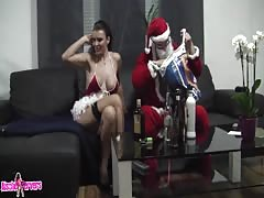 Horny Santa fucks hot brunette with amazingly big tits