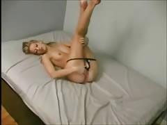 Blonde girl masturbating