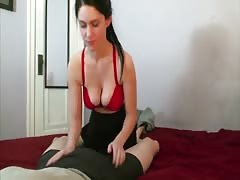 Skinny Busty Brunette BJ and Riding with a skirt on