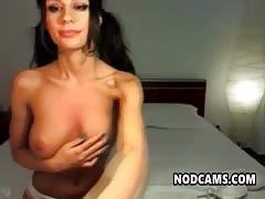 Beautiful brunette flashing her perfect tits