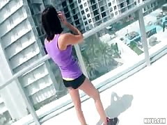 Hottie walks naked on the balcony - pubic porn with hot ex gf