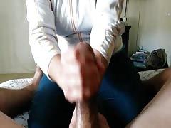 Amateur big cock handjob