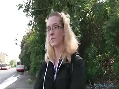 Amazing blonde is demonstrating her nice boobies in the video by Public Agent