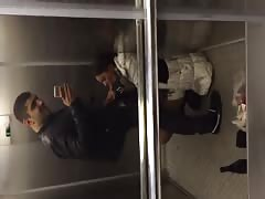 Impressive blowjob in the elevator performed by a young brunette