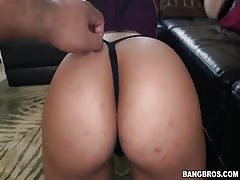 Slender big-butt ebony is being fucked by a big white cock