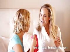 Step Moms Teach Sex - Step Mom and daughter tag team boyfriend