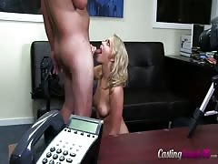 Slutty playful blonde sucking a dick in the video by Casting Couch X