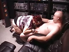 Fat redhead whore gets fucked from behind by an old man