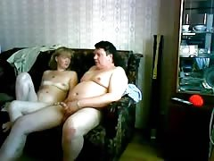 Chubby Russian milf performs a head for her fat hubby