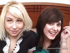 Sexy lesbian beauties are fucking in POV casting porn
