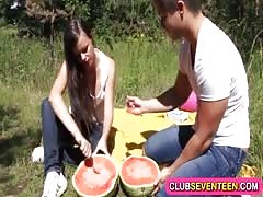 Small titted cutie tastes watermelon and cock