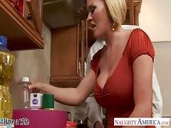 Chesty wife Krissy Lynn slurping cum in the kitchen