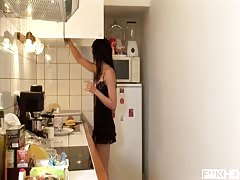 Ball Licking Babe Miho Lechter Deepthroats On Her Knees in the Kitchen