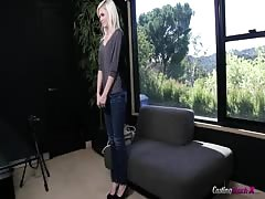 Good-looking 18 yo slut came to the interview to shows her skills