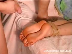 Bondage feet job