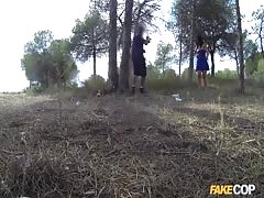 Dark-haired mom Montse takes a dick in the forest!
