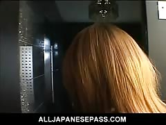Horny Japanese babe with cum on her big tits