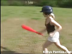 Petite 18yo teen Kitty playing soft ball