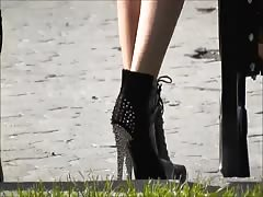 Lviv 08  Spiked heels gold and black