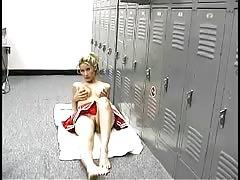 Busty cheerleader pornstar is having fun with herself in the locker room