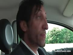 French milf hard banged and jizzed on tits by a taxi driver