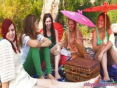Impressive beauties and Abby Winters are having a nice lunch