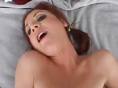 Innocent-looking pigtailed cutie is sucking tasty horny dong